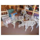 3pc Lighted Wire Metal Deer Christmas Yard Decor