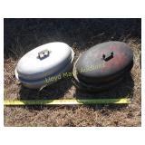 2pc Vintage Aluminum Ware Oval Roasters