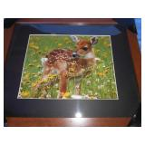 New Wood Frame Whitetail Deer Print