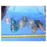 8pc Vintage Glass Electric Insulators