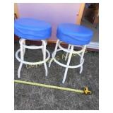 Pair of Metal Frame Swivel Padded Bar Stools