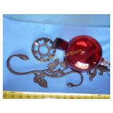 Blown Glass & Cast Iron Hummingbird Feeder NIB