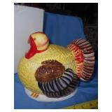 Ceramic Hand Painted Turkey Biscuit Jar NIB