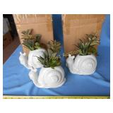 3pc New Ceramic Figural Snail Planters
