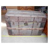 Antique Metal Over Wood Dome Top Trunk