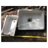2pc Vintage Enamel Over Metal Sinks