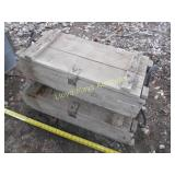 2pc Vintage Wood Military Mortar Ammo Crates