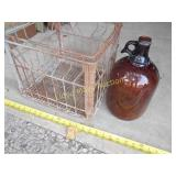 2pc - Metal Milk Crate / Brown Glass 1 Gal Bottle