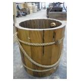 Wooden Water Pail w/ Rope Handle