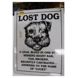 Heavy Lost Dog Sign
