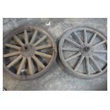 2 Vintage Wooden / Metal Wheels