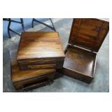 3 Wooden Storage Boxes w/ Drawers & Lids