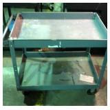 Grey metal industrial cart