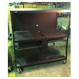 Black full-size entertainment cart