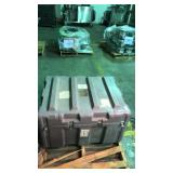 Large gray plastic storage container with foam