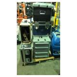 Lot of five storage containers ( three hard