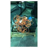 Pallet of extension cords and onan marquis 7000