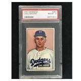 1951 Bowman Baseball Carl Erskine Rookie Psa 8
