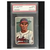 1951 Bowman Baseball Al Lopez Hof Psa 8
