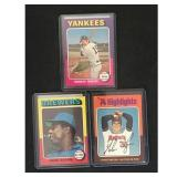 Three 1975 Topps Baseball Hof Cards