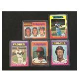Five 1975 Topps Baseball Hof Cards