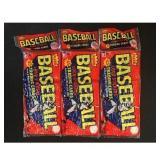 Three 1983 Fleer Baseball Rack Packs Sealed