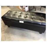 Stunning Large Black Leather Ottoman Storage