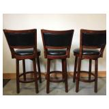 New Set of 3 Leather and Wood Swivel Bar Stools
