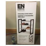 New Modern Expresso & Chrome Large Shoe Rack