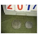 Vintage 1 Franc + 1/2 Franc Coins
