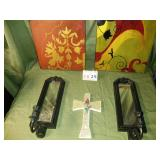 2 Wall Hangings + 2 Mirror Candle Holders + Cross