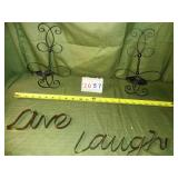 2 Metal Candle Holders for Wall + Metal LIVE LAUGH