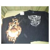 Size L Flaming Baseball + Size XXL Transformers T