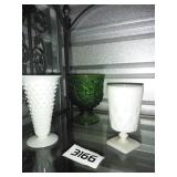 3 Piece Lot - 2 Milk Glass + Vintage Green Glass