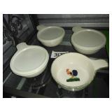 Set of 4 Ceramic ROOSTER Soup Bowls + Lids