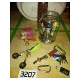 Jar of Assorted Keychains