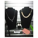 Lot of 2 Necklaces + Earring Pair + Jewelry Bag