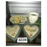 Pair of VINTAGE Heart Wall Decor + WELCOME + More