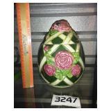 Large Ceramic Floral Canister