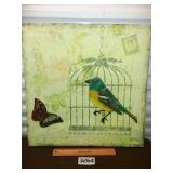 Large Wall Art - Parakeet and Butterfly
