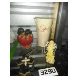 Lot of Home Decor - Figurines + Metal Vase