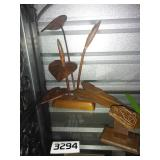 VINTAGE Wooden Decor + Frog Letter Holder