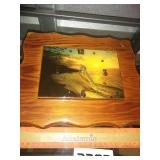 Wooden Clock with SeaScape Scene