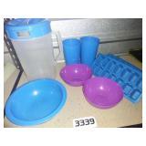 Plastic Kitchenware Lot - Pitcher + Bowls + Cups