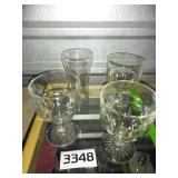 Lot of 4 HEAVY Clear Glasses