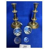 Pair of Antique Brass Candlesticks, 4 Paperweights