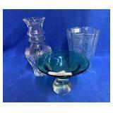 Vintage Acid Etched Vase & Other Glassware