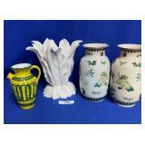3 Vases & Yellow/Green Ceramic Pitcher