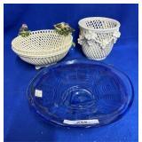 Crystal Bowl & 2 Italian Ceramic Pieces