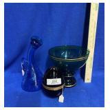 Green Glass Compote w/Gold Trim & Miscellaneous